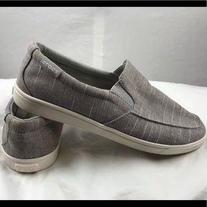 Crocs Canvas Loafers women's size 7W gray